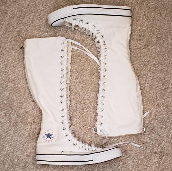 White Converse Knee High Sneakers